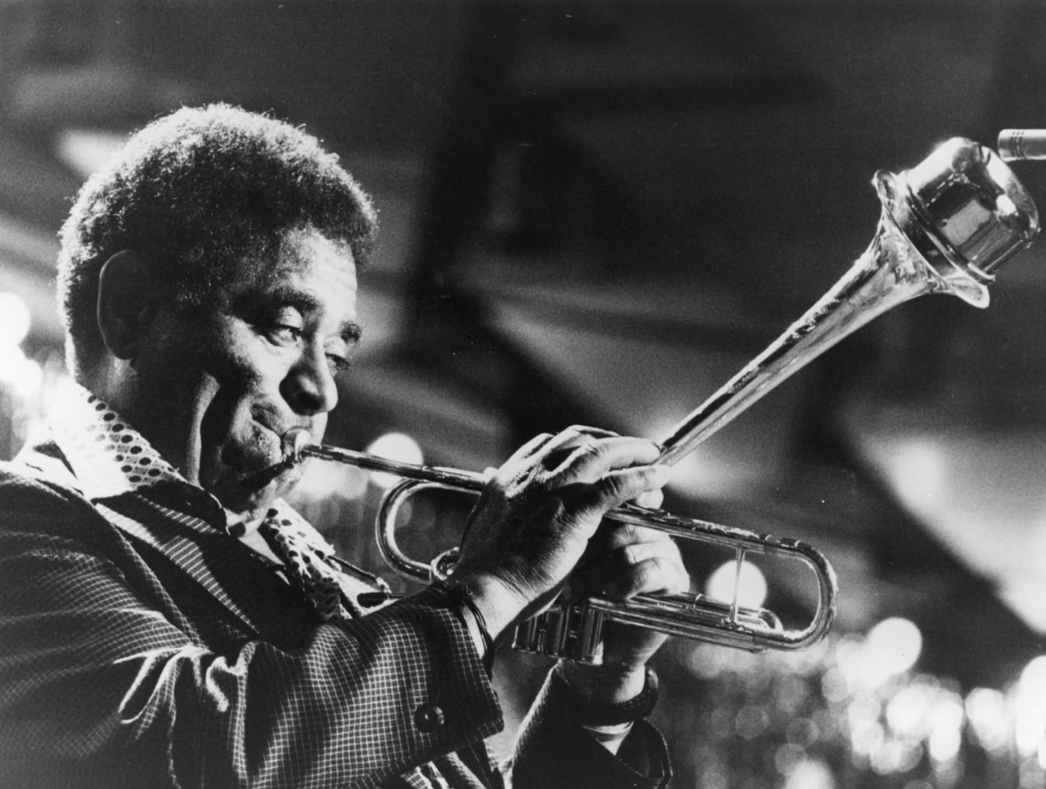 circa 1956: Dizzy Gillespie (1917 - 1993) the professional name of John Birks, the jazz trumpeter, composer and bandleader as he performs at the International Jazz Festival at Montreux. (Photo by Keystone/Getty Images)