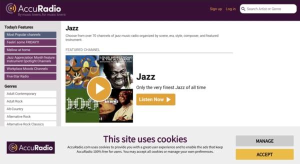 70以上に分類された充実のジャズカテゴリを誇るアメリカのネットラジオ、 Accu Radio