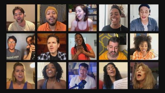 キャロル・キングの自伝ミュージカルの各国キャスト80名が自宅から「You've got friend」を合唱した写真