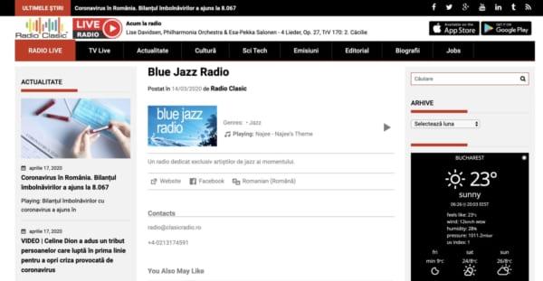 RADIO CLASIC JAZZ。ルーマニアのクラシック局によるジャズチャンネル