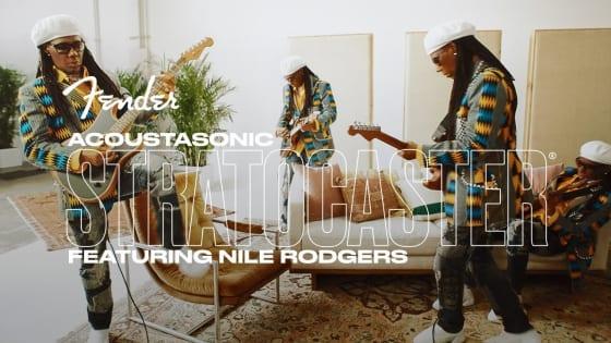 ナイル・ロジャースのアコースタソニック・ストラトキャスターのデモ演奏